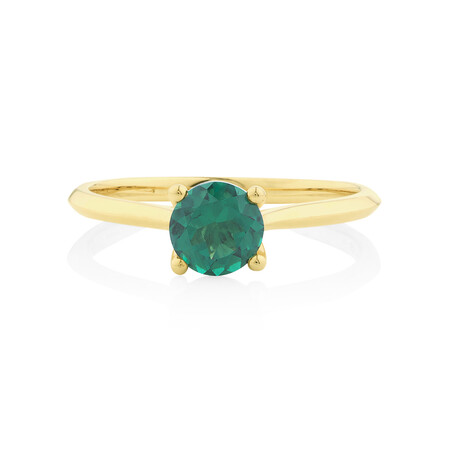 Ring with Created Emerald in 10ct Yellow Gold