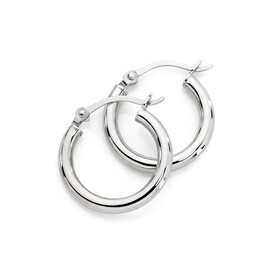14mm Hoop Earrings in 10ct White Gold