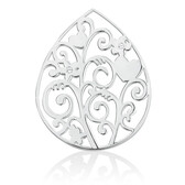 Flower Vine Coin Locket Insert with Cubic Zirconia in Sterling Silver