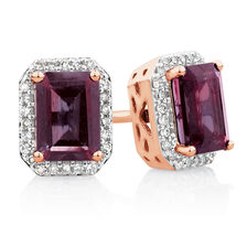 Stud Earrings with Rhodolite Garnet & 0.15 Carat TW of Diamonds in 10ct Rose Gold