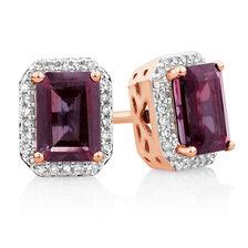 Stud Earrings with Rhodolite Garnet & 0.15 Carat TW of Diamonds in 10ct Rose Gold