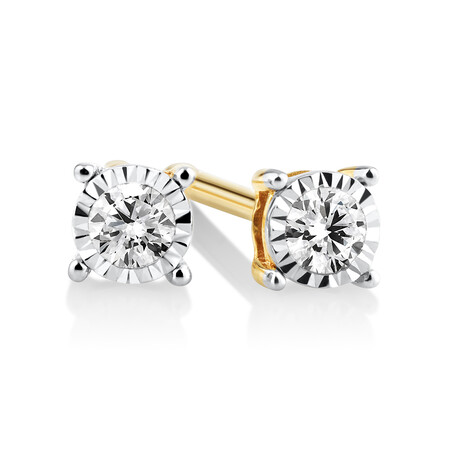 Stud Earrings with 0.10ct TW Diamonds in 10ct Yellow Gold