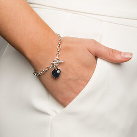 Belcher Bracelet with Cubic Zirconia in Sterling Silver