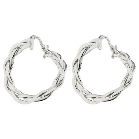Online Exclusive - Patterned Hoop Earrings in 10ct White Gold