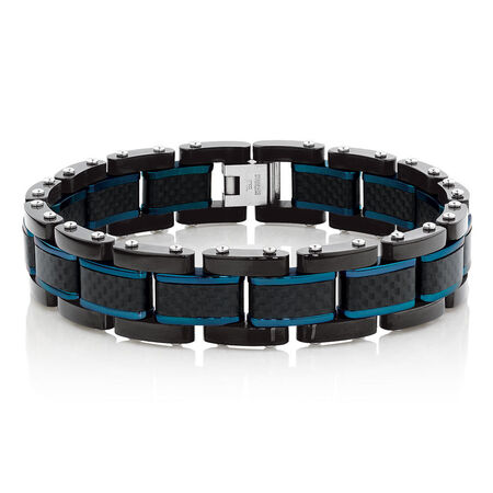 Men's Bracelet in Carbon Fibre and Stainless Steel