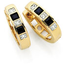 Hoop Earrings with Sapphire & Diamonds in 10ct Yellow & White Gold