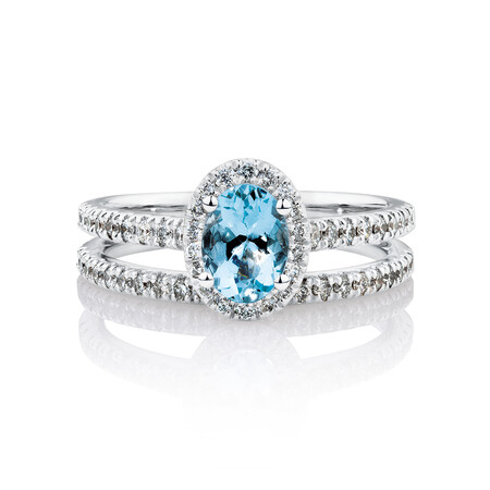 Bridal Set with 0.50 Carat TW of Diamonds & Aquamarine in 14ct White Gold