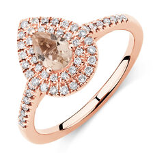 Sir Michael Hill Designer Fashion Ring with Morganite & 1/4 Carat TW of Diamonds in 10ct Rose Gold