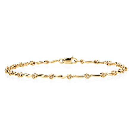 Tennis Bracelet with Diamonds in 10ct Yellow Gold