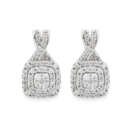 Earrings with 1/2 Carat TW of Diamonds in 10ct White Gold