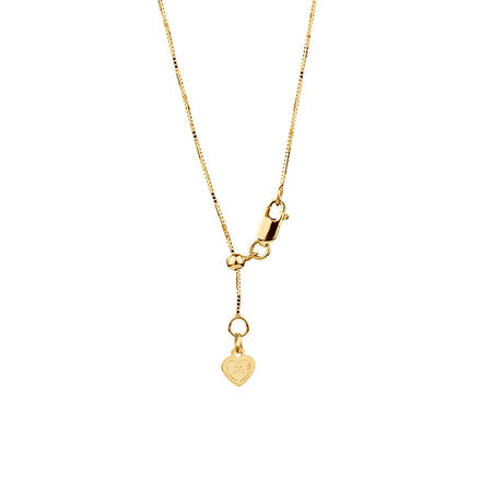 "50cm (20"") Adjustable Box Chain in 10ct Yellow Gold"