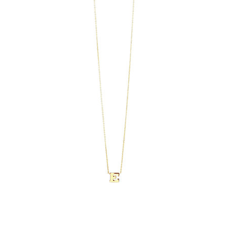 """E"" Initial Necklace In 10ct Yellow Gold"