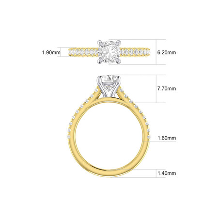 Solitaire Engagement Ring with 1.25 Carat TW of Diamonds in 14ct Yellow & White Gold