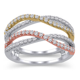 Enhancer Ring with 0.60 Carat TW of Diamonds in 14ct White, Yellow & Rose Gold
