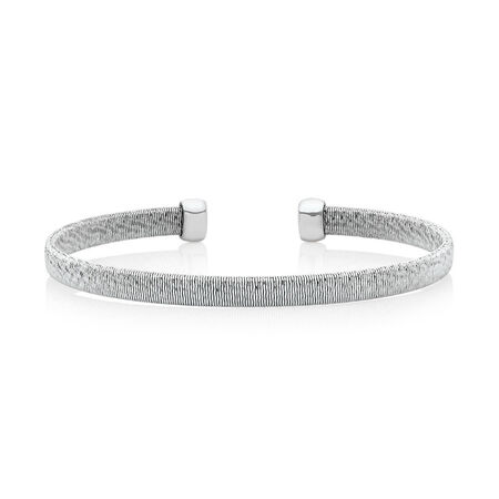 Patterned Cuff Bangle in Stainless Steel & Sterling Silver