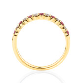 Ring With Natural Ruby & 0.15 Carat TW Of Diamonds In 10ct Yellow Gold