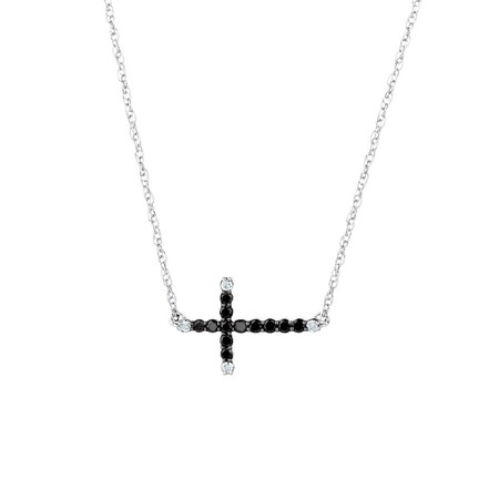 Online Exclusive - Pendant with 0.20 Carat TW of Enhanced Black Diamonds in Sterling Silver