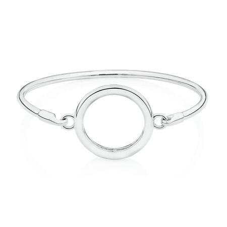 Coin Locket Bangle in Sterling Silver