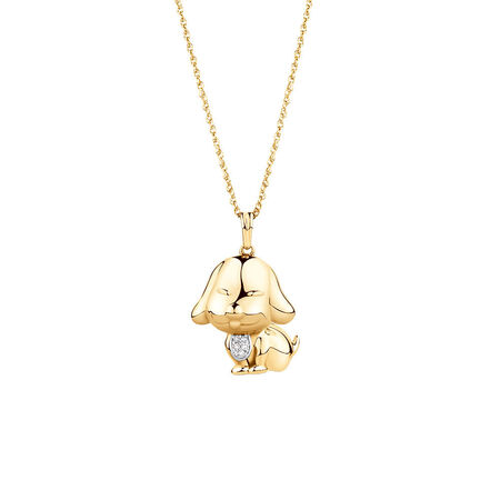 Year of the Dog Pendant with Diamonds in 10ct Yellow Gold