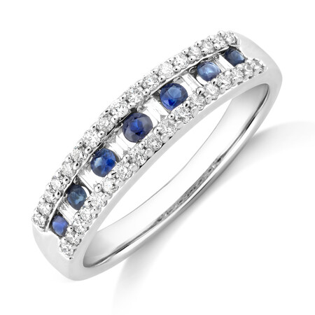 Natural Blue Sapphire Ring with 0.29 Carat TW of Diamonds In 10ct White Gold