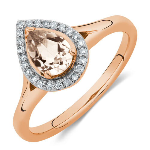 Ring with Morganite & Diamonds in 10ct Rose Gold