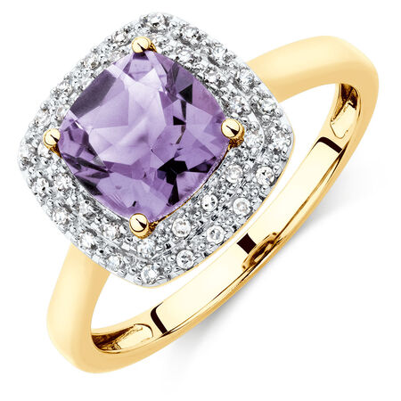 Ring with Amethyst Diamonds in 10ct Yellow & White Gold