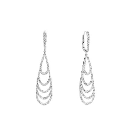 Teardrop Earrings with 2 Carat TW of Diamonds in 10ct White Gold