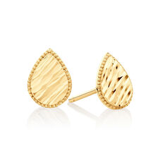Patterned Pear Studs in 10ct Yellow Gold