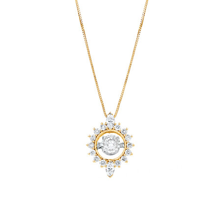 Everlight Pendant with 0.50 Carat TW of Diamonds in 10ct Yellow Gold