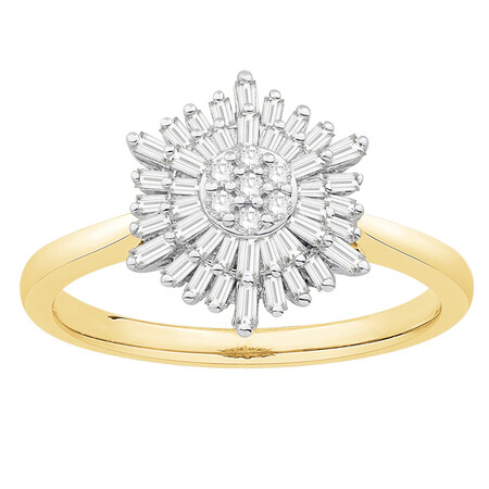 Cluster Ring with 0.38 Carat TW of Diamonds in 10ct Yellow & White Gold
