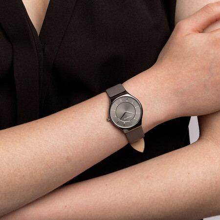 Ladies' Watch in Grey Tone Stainless Steel & Grey Leather