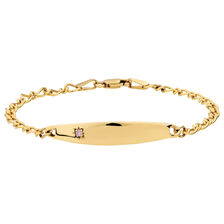 "14cm (6"") Baby Identity Bracelet with a Pink Cubic Zirconia in 10ct Yellow Gold"