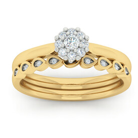 Bridal Set with 1/4 Carat TW of Diamonds in 10ct Yellow Gold