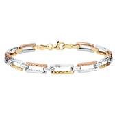 "19cm (7.5"") Bracelet in 10ct Yellow, White & Rose Gold"