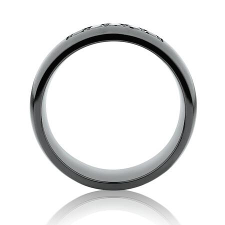 8mm Black Titanium Ring with Black Diamonds