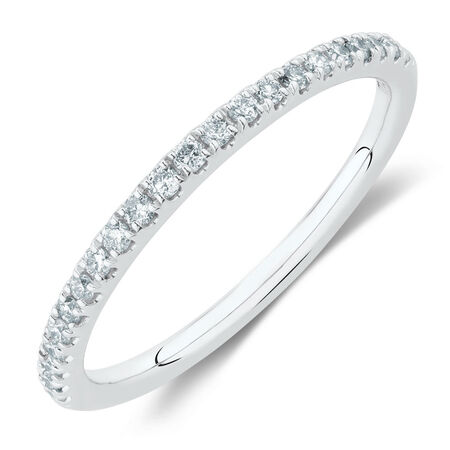 Wedding Band with 1/5 Carat TW of Diamonds in 14ct White Gold