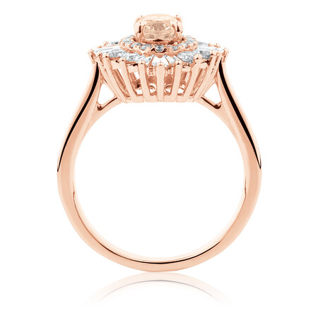 Ballerina Ring with 0.75 Carat TW of Diamonds & Morganite in 10ct Rose Gold