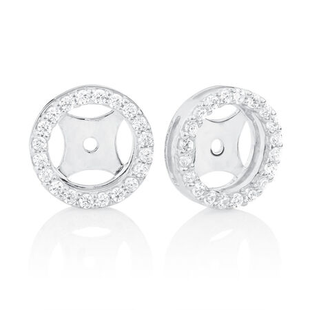 Earring Enhancers with Cubic Zirconia in Sterling Silver