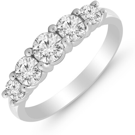 Five Stone Ring with 1.00 Carat TW of Diamonds in 14ct White Gold