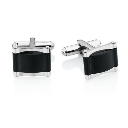 Men's Cuff Links in Black PVD Plated Stainless Steel