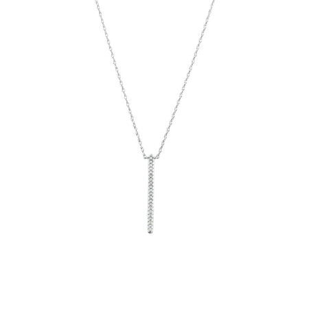 Bar Drop Pendant with Diamonds in 10ct White Gold