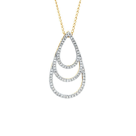 Pendant with 0.20 Carat TW of Diamonds in 10ct Yellow Gold