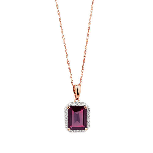 Pendant with Rhodolite Garnet & Diamonds in 10ct Rose Gold