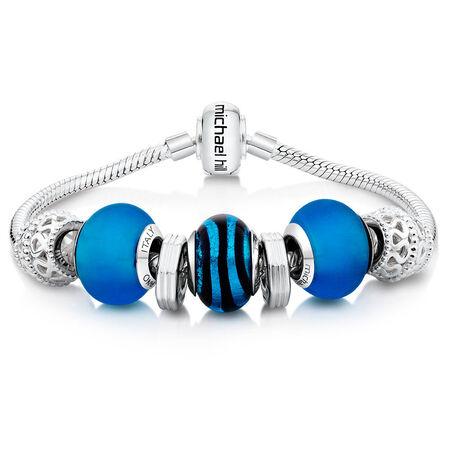 "Blue Glass & Sterling Silver 19cm (7.5"") Charm Bracelet"