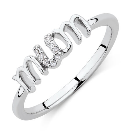 Mum Ring with Diamonds in Sterling Silver