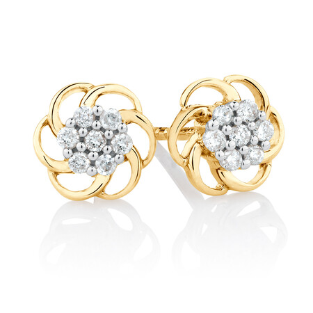 Flower Stud Earrings with Diamonds in 10ct Yellow Gold
