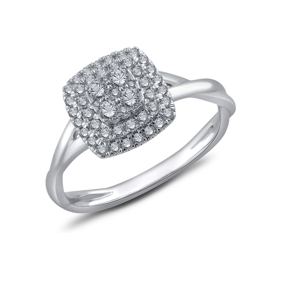 Cluster Ring with 0.40 Carat TW of Diamonds in 10ct White Gold