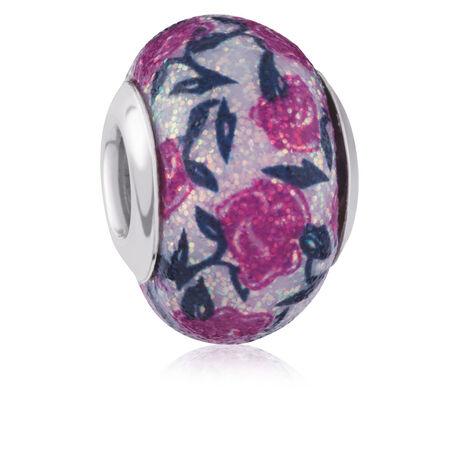 Pink & Black Rose Glitter Charm