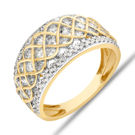 Pave Ring With 1.25 Carat TW Diamond in 10ct Yellow Gold