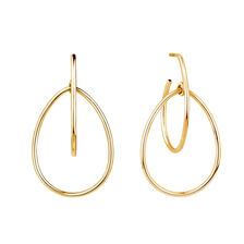 Double Pear Hoop Earrings In 10ct Yellow Gold
